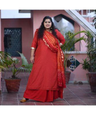 Red weave kurta