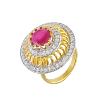 red ruby with diamond stylish smart look ring