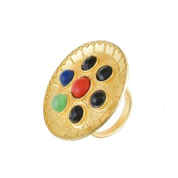 golden with multi stone unique desiner ring