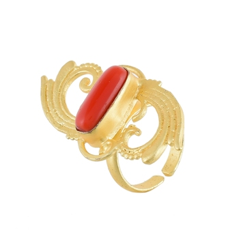 golden with red coral smart stylish ring
