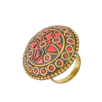 black red tibetian style traditional ring