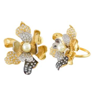 golden flower design beautiful cute designer ring