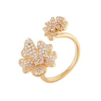 Golden Cubic Zirconia Flower Design Cute Delicate Ring