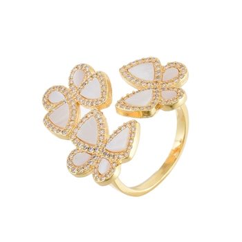 White Golden Mother Pearl Beautiful Delicate Cubic Zirconia  Ring