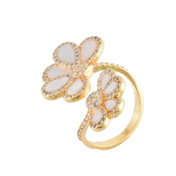 white golden mother pearl cute delicate cubic zirconia  ring