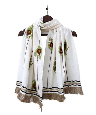 Pure Khadi Off White Peacock Feather Embroidered STOLE OR DUPATTA
