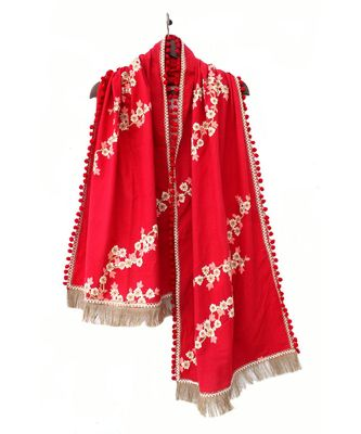 Pure Khadi Blood Red Embroidered stole or Dupatta