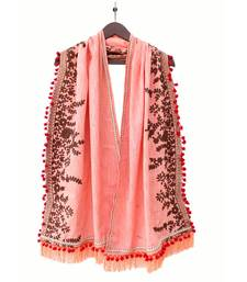 Pure Khadi Peach Color Embroidered stole or Dupatta