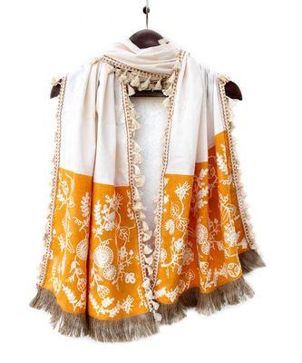 Pure Khadi Yellow Makhi panel Embroidered stole or Dupatta