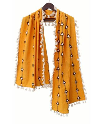 Pure Khadi Mustured stole or Dupatta with Off White Tassel Lace