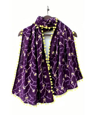 Purple Khadi Dupatta or stole With Yellow Pompom
