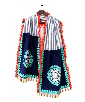 Lining Khadi Stole With Naby Blue Panels both sides