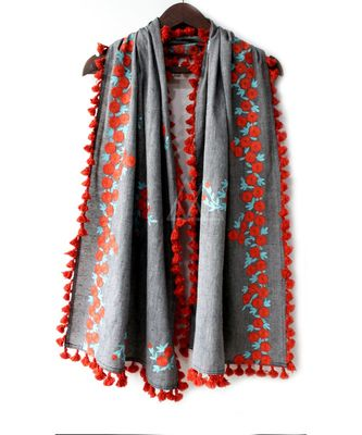 Pure Khadi Gray Color Floral Embroidered Dupatta or stole With Teassel Lace