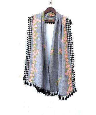Pure Khadi Gray Chex Border Embroidered Dupatta or stole