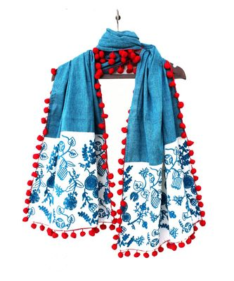 100% pure khadi makhi panel rama dupatta with big pom pom lace.