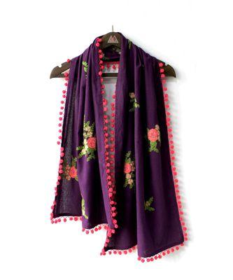 pure khadi purple floral bunch dupatta with tomato pom pom