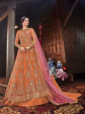 Orange embroidered santoon salwar