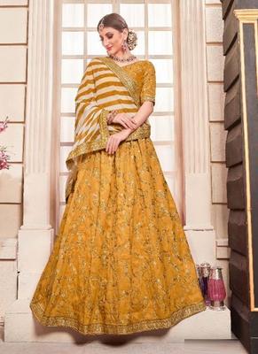Yellow plain  silk unstitched lehenga
