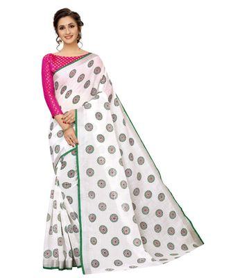 Women's Pure Heavy Linen Cotton Designer Saree with Printed Butaa