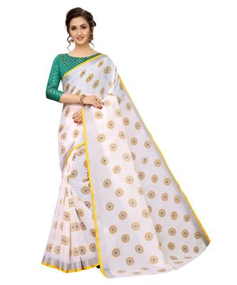 Women's Pure Heavy Linen Cotton Designer Saree with Printed Butaa