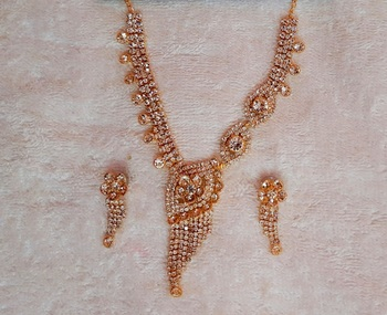 Traditional AD Zircon Stone White Gold Plated Fancy Stylish Party Wear Wedding necklace earring mangtika set