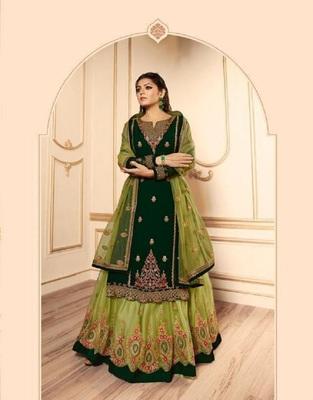 Parrot-green embroidered santoon salwar