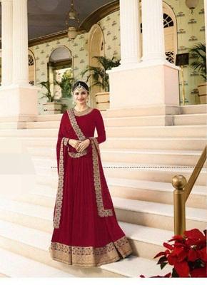 Red embroidered santoon salwar