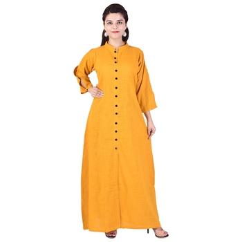 Orange Long Cotton Kurta