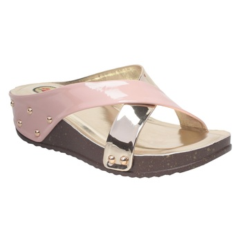 Women Peach Synthetic Sandal