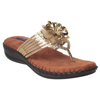 Women Gold Synthetic Sandal