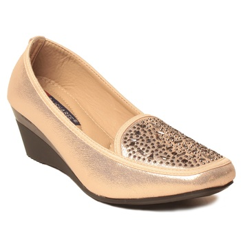 women Synthetic Gold Shoes