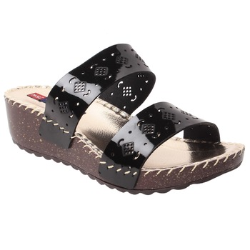 women Black Synthetic leather Wedges