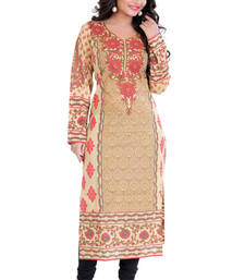 Beige Cambric Cotton Printed Full Sleeves Kurti