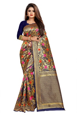 Dark Blue Woven Banarasi Silk Saree With Blouse