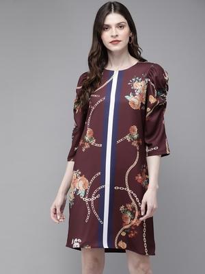 Burgundy Floral Placement Print Shift Dress