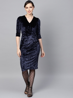 Navy Velvet Wrap Bodycon Dress