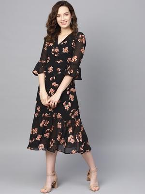 Black Floral Wrap Tie Dress