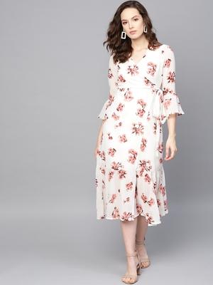 White Floral Wrap Tie Dress