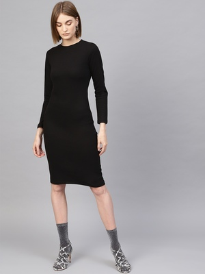 Black Rib Full Sleeves Bodycon Dress