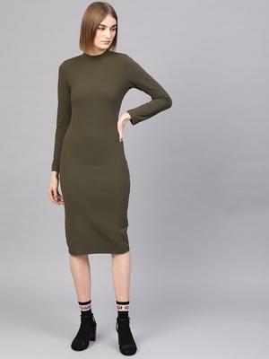 Olive High Neck Bodycon Midi Dress