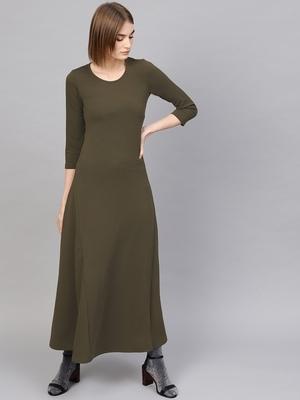 Olive Round Neck Maxi Dress