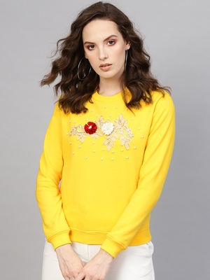 Yellow Floral Patch Sweatshirt