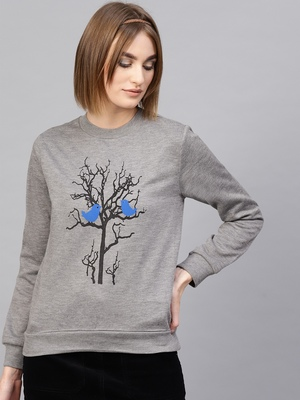 Grey Tree Print Sweatshirt