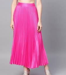 Pink Satin Pleated Maxi Skirt