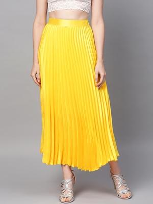 Yellow Satin Pleated Maxi Skirt