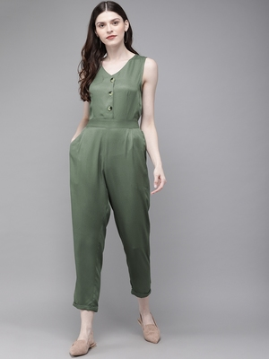 Olive Sleevless Tapered Belted Jumpsuit