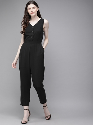 Black Sleevless Tapered Belted Jumpsuit