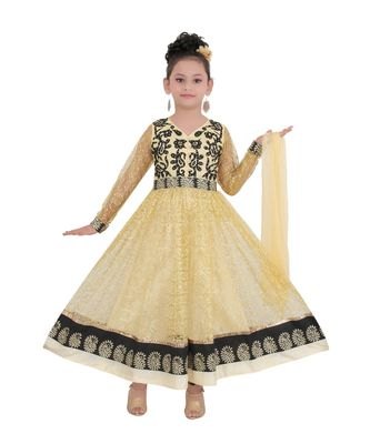 Gold Embroidered Net Kids Salwar Suits