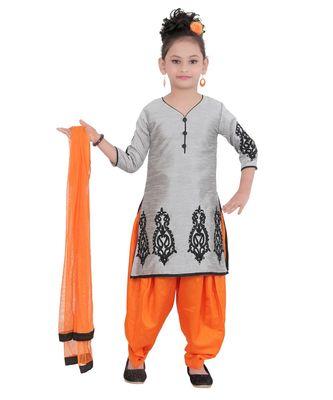 Grey Embroidered Art Silk Kids Salwar Suits