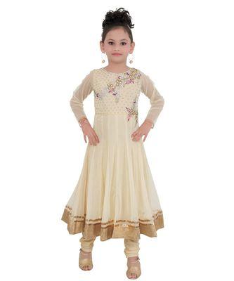 Gold Embroidered Art Silk Kids Salwar Suits